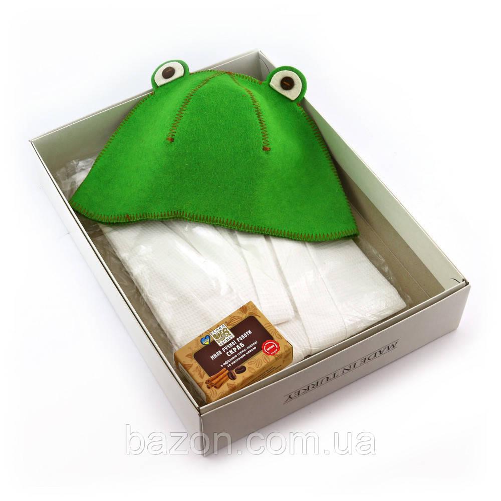 Подарочный набор для сауны женский Luxyart №5 Лягушка (3 предмета)