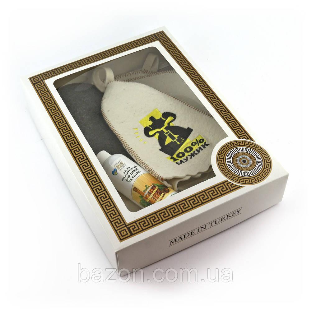 Подарочный набор для сауны мужской Luxyart №6 100% мужик (4 предмета)