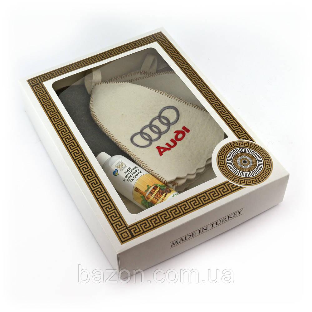 Подарочный набор для сауны мужской Luxyart №6 Audi (4 предмета)