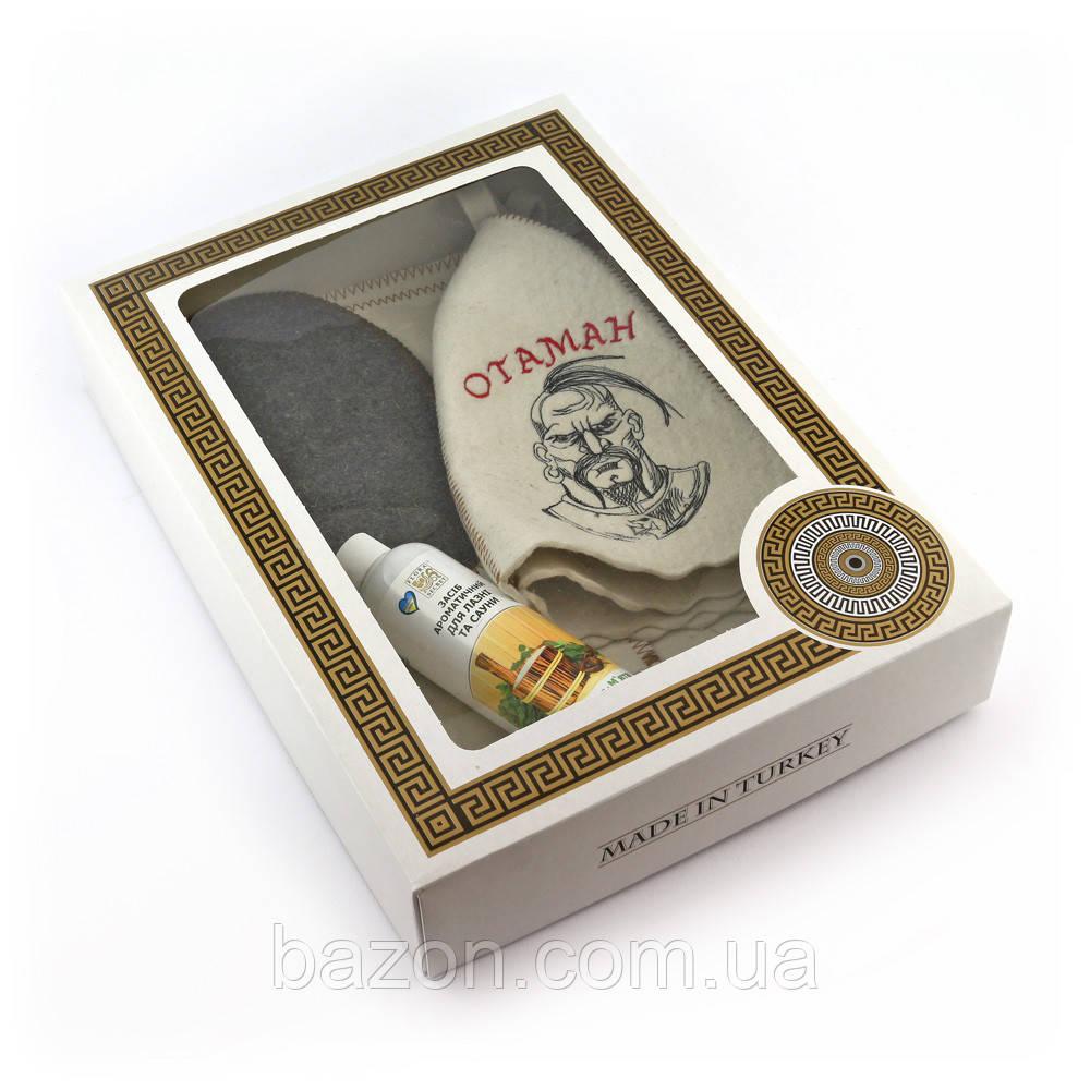 Подарочный набор для сауны мужской Luxyart №6 Отаман (4 предмета)