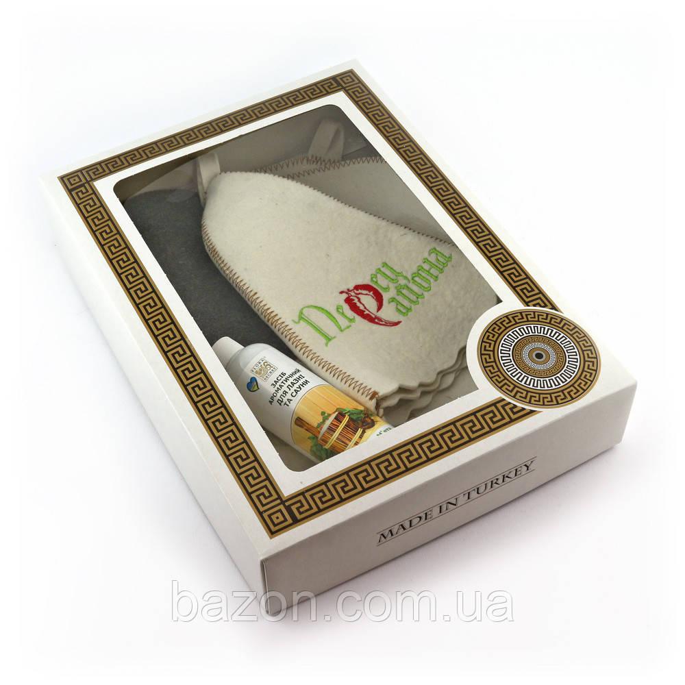 Подарочный набор для сауны мужской Luxyart №6 Перец района (4 предмета)