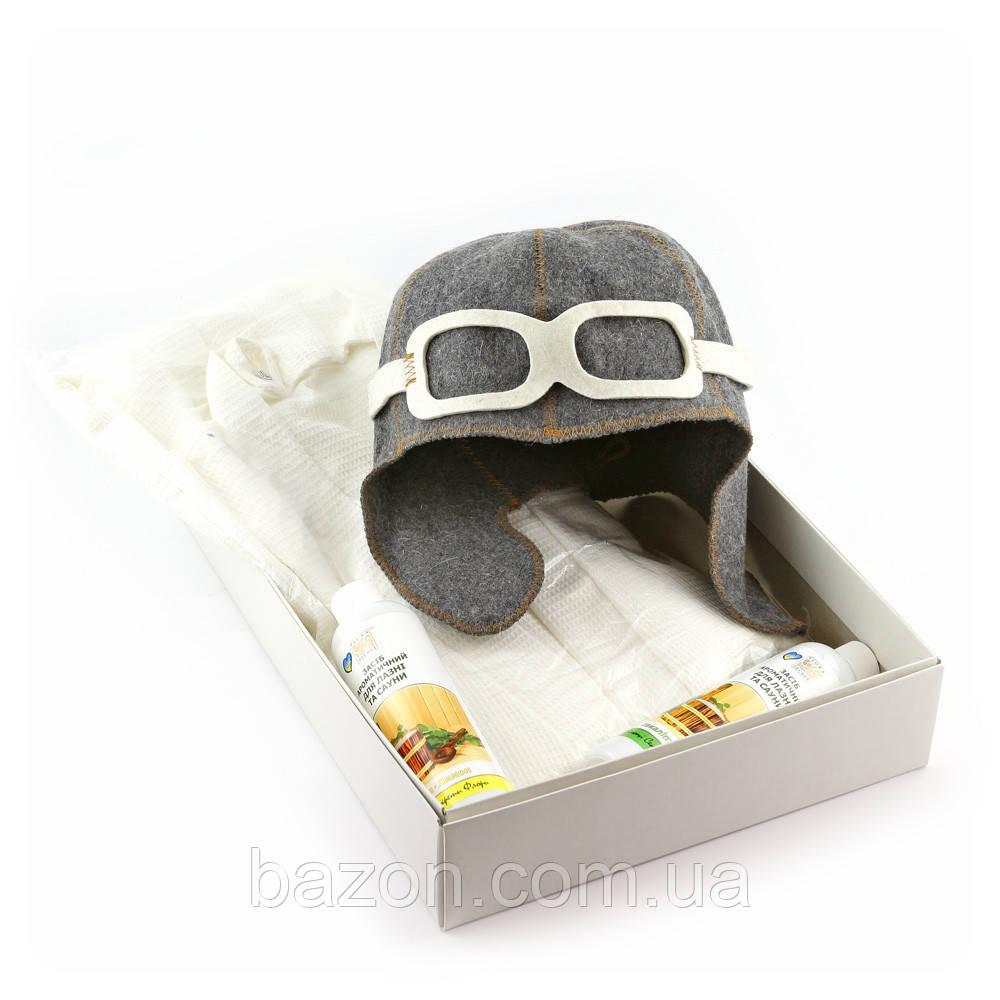 Подарочный набор для сауны мужской Luxyart  №10 Летчик (3 предмета)