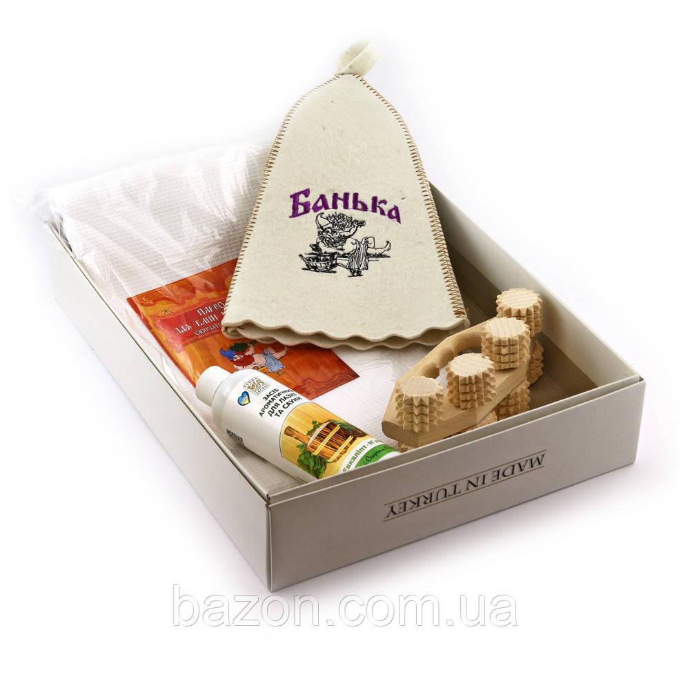 Подарочный набор для сауны мужской Luxyart №13 Банька (5 предметов)