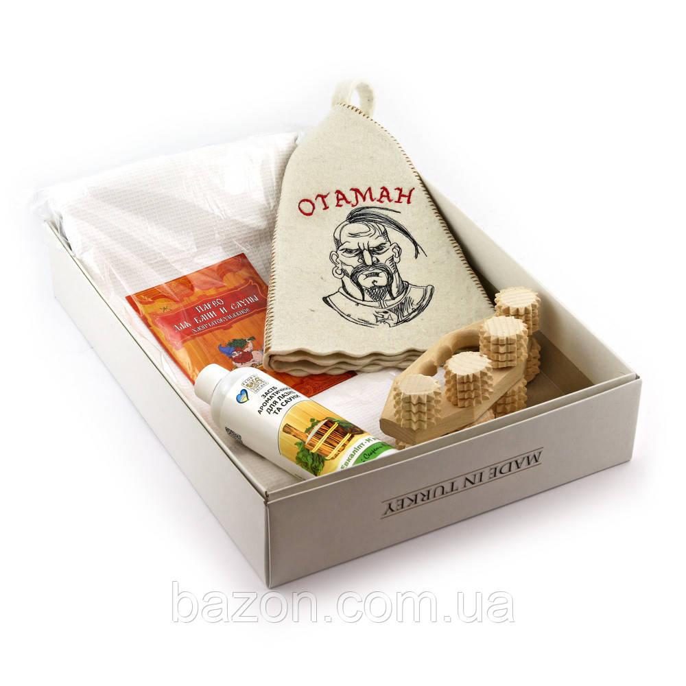 Подарочный набор для сауны мужской Luxyart №13 Отаман (4 предмета)