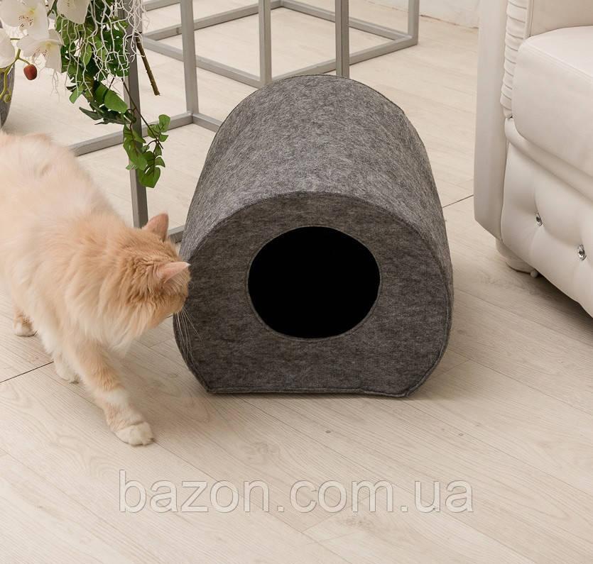 "Домик для кота Digitalwool ""Бочка с подушкой"", серый (DW-92-04)"