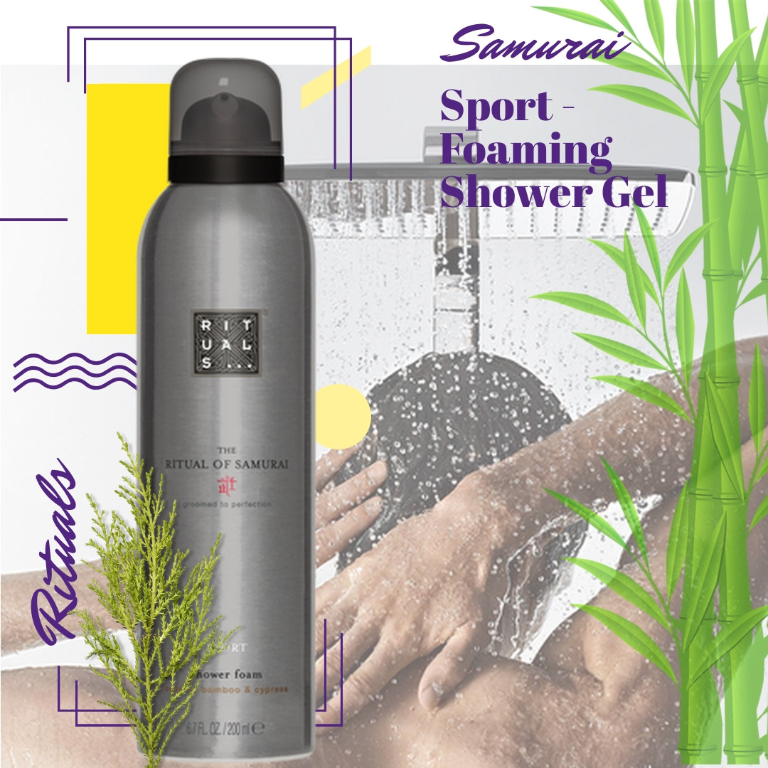"Rituals. Гель для душа ""Samurai"", Sport - Foaming Shower Gel (светло серый). 200 мл. Производство Нидерланды"