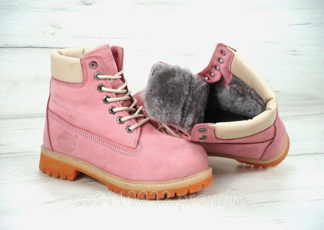 Женские ботинки зимние Timberland (мех) (розовый)