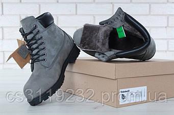 Женские ботинки Timberland (мех) (серый)