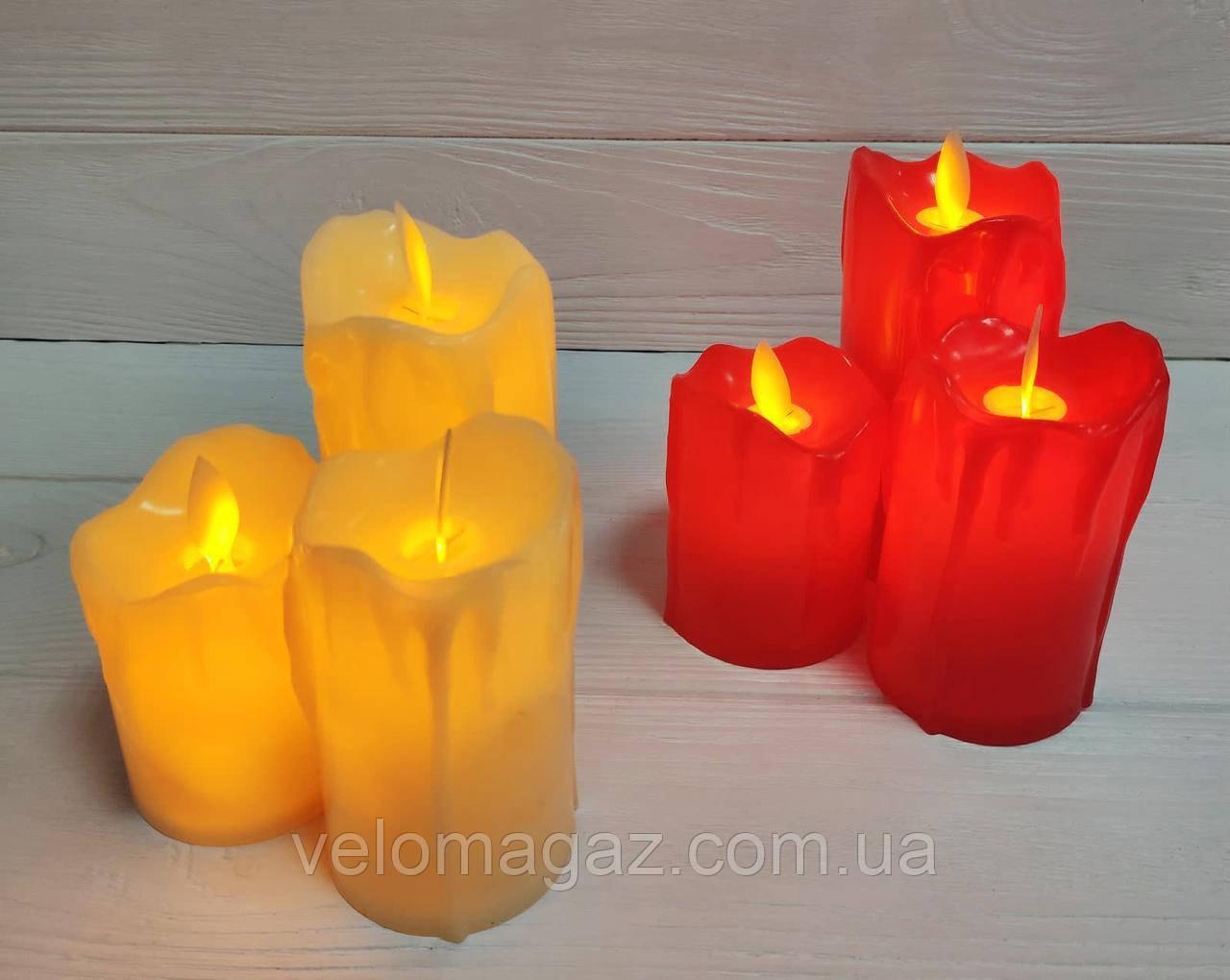 LED свічки з імітацією живого полум'я, червоний колір, ефект вітру!