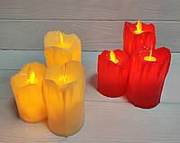 LED свічки з імітацією живого полум'я, червоний колір, ефект вітру!, фото 1