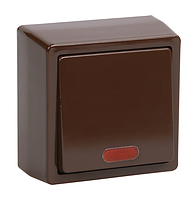 ВС20-1-0-БК Выключатель одноклавишный с индикатором коричневый БРИКС