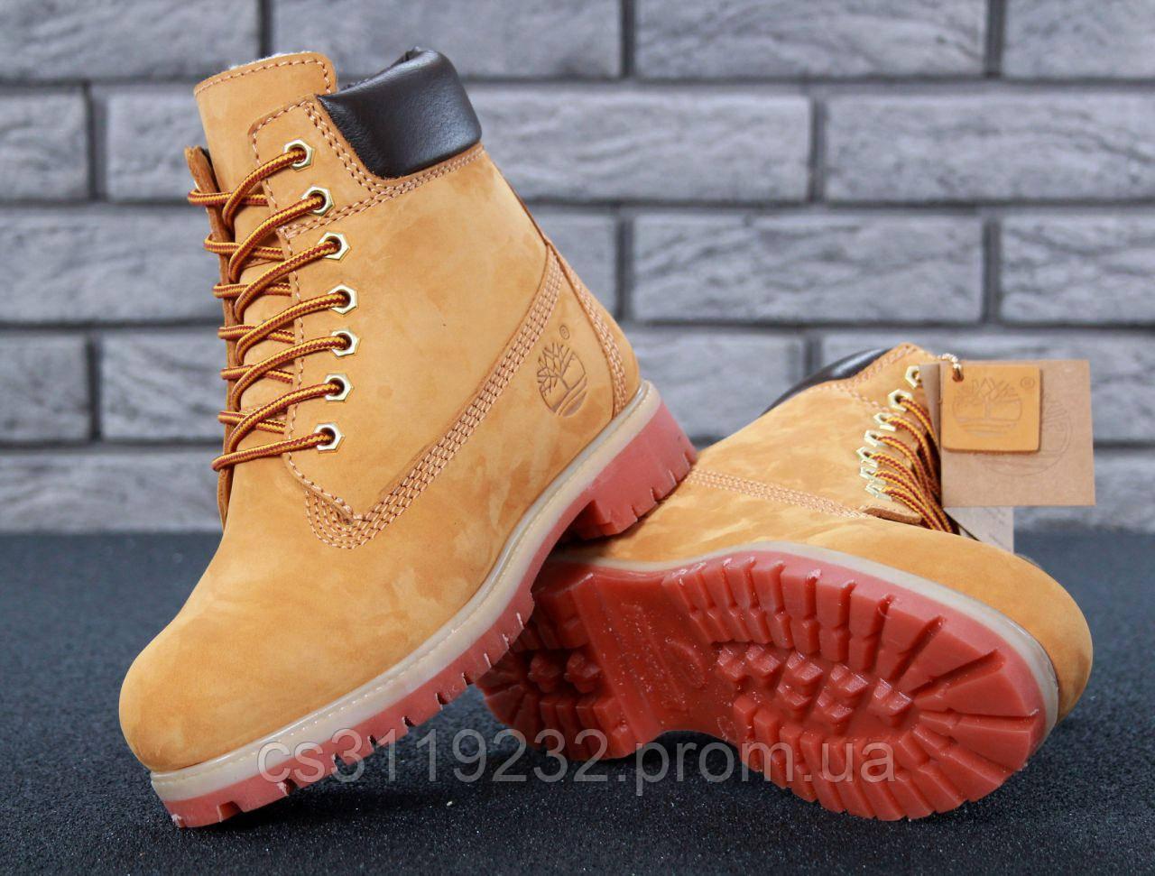Женские ботинки зимние Timberland (нат.мех) (рыжие)