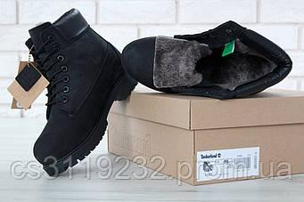 Женские ботинки зимние Timberland (нат.мех) (черный)