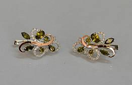Серебряные серьги Sil с золотыми вставками 151s-6 Олива Sil-1080, КОД: 976491