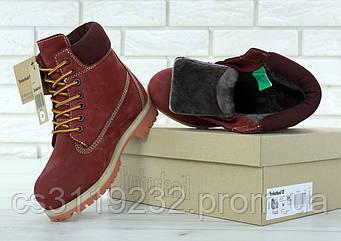 Женские ботинки зимние Timberland (нат.мех) (бордовый)