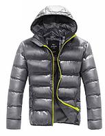 Мужская куртка пуховик дутик (PU кожа) до 178см, фото 1