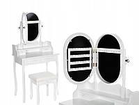 Туалетный столик Wooden Dresser C5 белый с зеркалом + табурет (9085)
