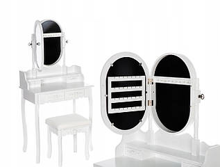 Туалетний столик Wooden Dresser C5 білий з дзеркалом + табурет (9085)