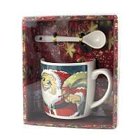 Чашка с ложечкой в подарочной упаковке Merry Christmas Санта с подарками - 203643