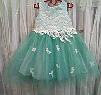 3.251 Мятно-белое нарядное детское платье-маечка с кружевом и блестящей юбкой на 3-4 годика