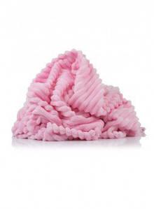 Плюшевая ткань Stripes розовая отрез (размер 0,65*1,5 м)