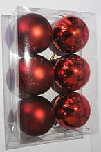 Елочные Игрушки Набор Новогодних Шаров в Коробке 6 шт Диаметр 6 см Красные