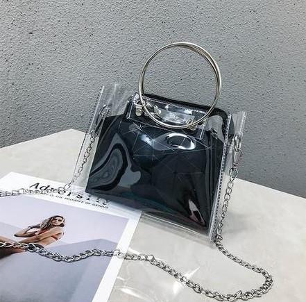 Женская классическая сумочка прозрачная на цепочке с круглыми ручками черная