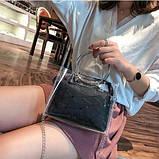 Женская классическая сумочка прозрачная на цепочке с круглыми ручками черная, фото 3