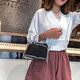 Женская классическая сумочка прозрачная на цепочке с круглыми ручками черная, фото 4