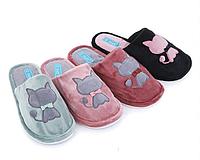 Велюровые тапочки для дома с закрытым носком в цветах