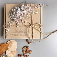 Гребень для волос нежно розовый с кварц, украшение для волос на свадьбу пудровое
