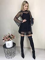 Платье женское нарядное чёрное пудра синее 42-44 44-46