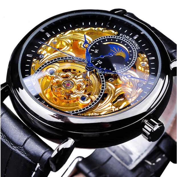 Механические часы с автоподзаводом Forsining Legend (black-gold)