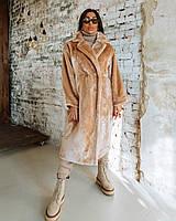 Шуба Doratti женская стильная модная из меха искусственного кролика свободного кроя миди Gdor859, фото 1