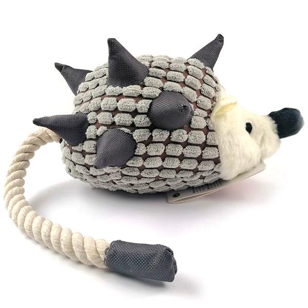 Игрушка для собак с веревочным хвостом Flamingo Hedgehog Plush с пищалкой