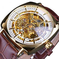 Механические часы с автоподзаводом Forsining Basuka (brown-gold)