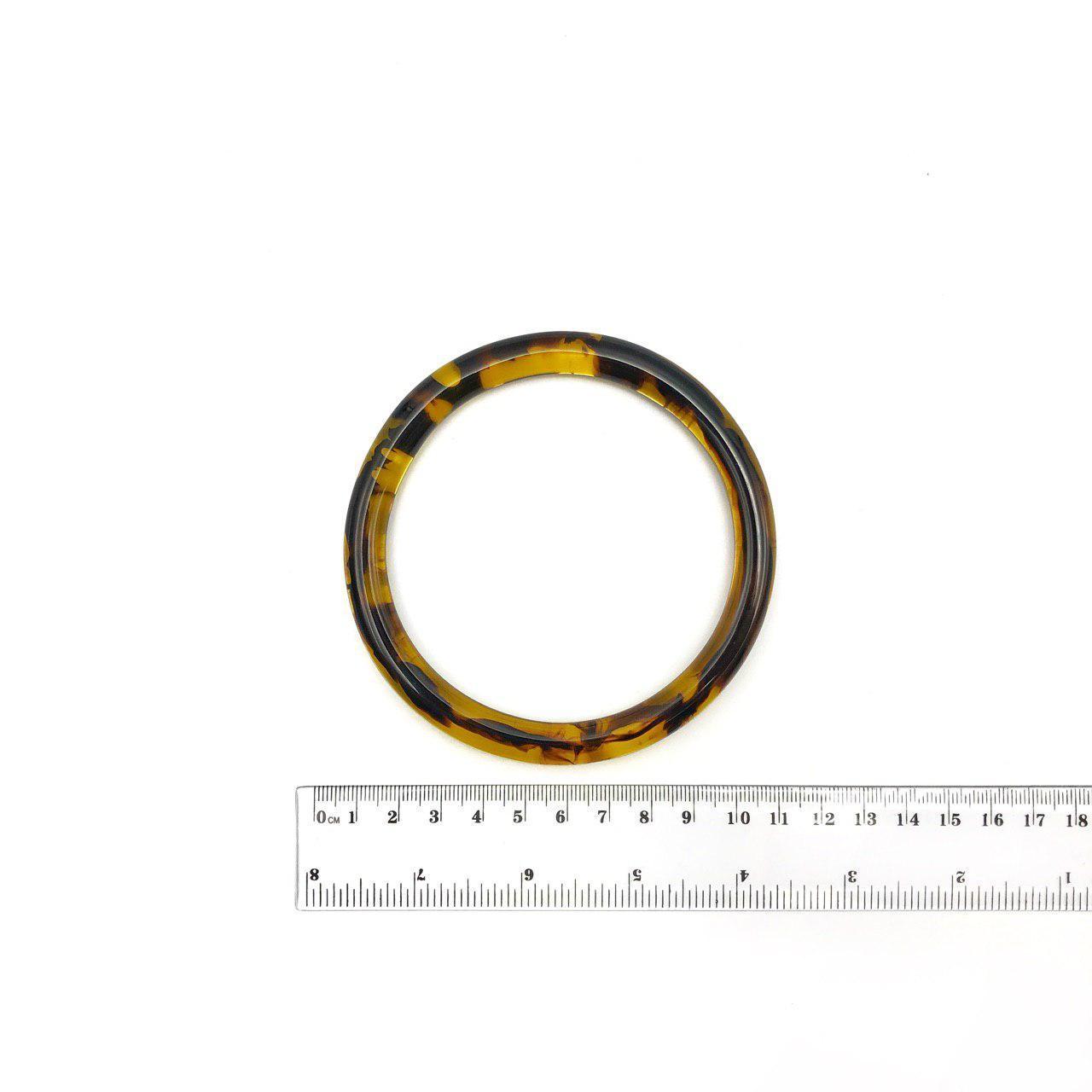 Ручка для вязаной сумки круглая янтарная пластиковая Бобилон