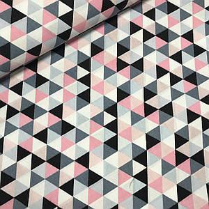 Хлопковая ткань польская треугольники мелкие, розовые, серые, графитовые (БРАК)