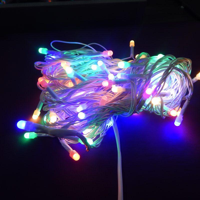 Гирлянда Нить Семечка Перламутр электрическая, 100 led, мульти, белый провод, 7м.