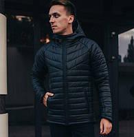 Зимняя мужская куртка с капюшоном теплая черная. Живое фото