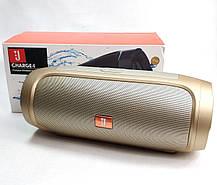 Портативная колонка bluetooth блютуз акустика для телефона с флешкой повербанк золото CHARGE4, фото 3