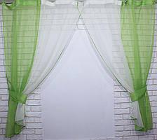Комплект кухонные шторки с подвязками №17 Цвет оливковый с белым 50-018