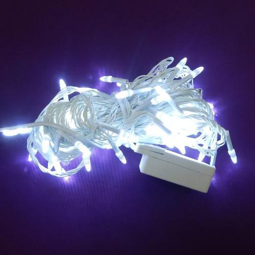 Гирлянда Нить Конус-Рис электрическая, 100 led, белая, белый провод, 7м.