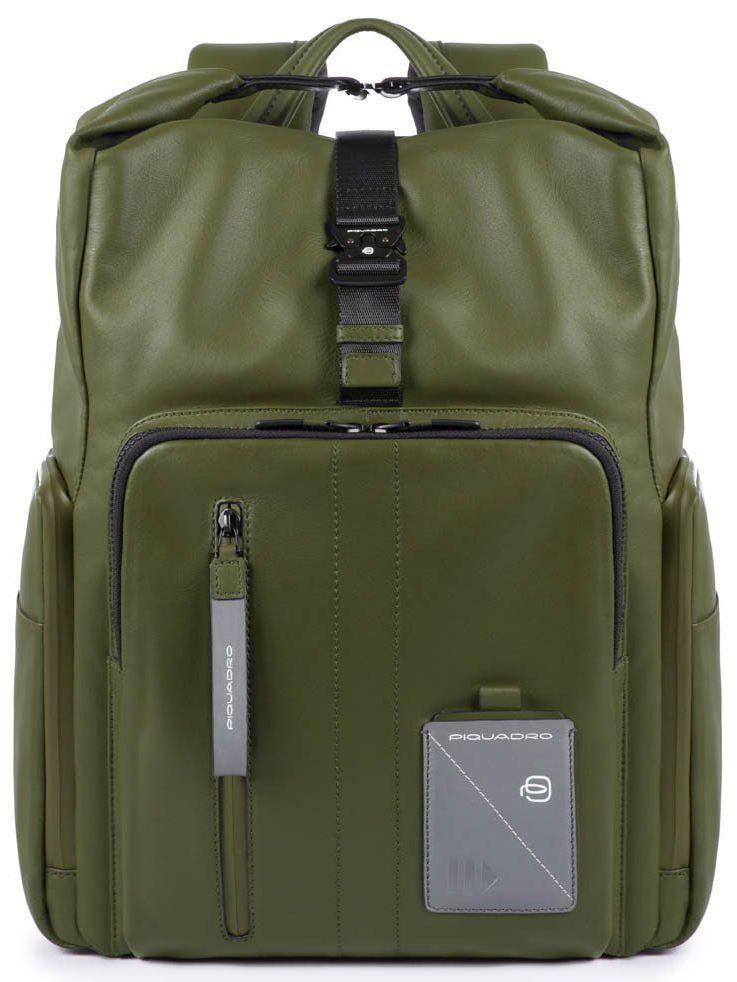 Кожаный городской рюкзак Piquadro Explorer оливковый 19 л