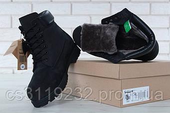 Мужские ботинки зимние Timberland Ginger (нат.мех) (черные)
