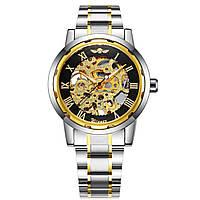 Механические часы Winner Skeleton Steel (black-gold)