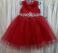 """3.255 Темно-красное нарядное детское платье-маечка с блестящей """"паутинкой"""" и кристаллами на 3-4 годика"""