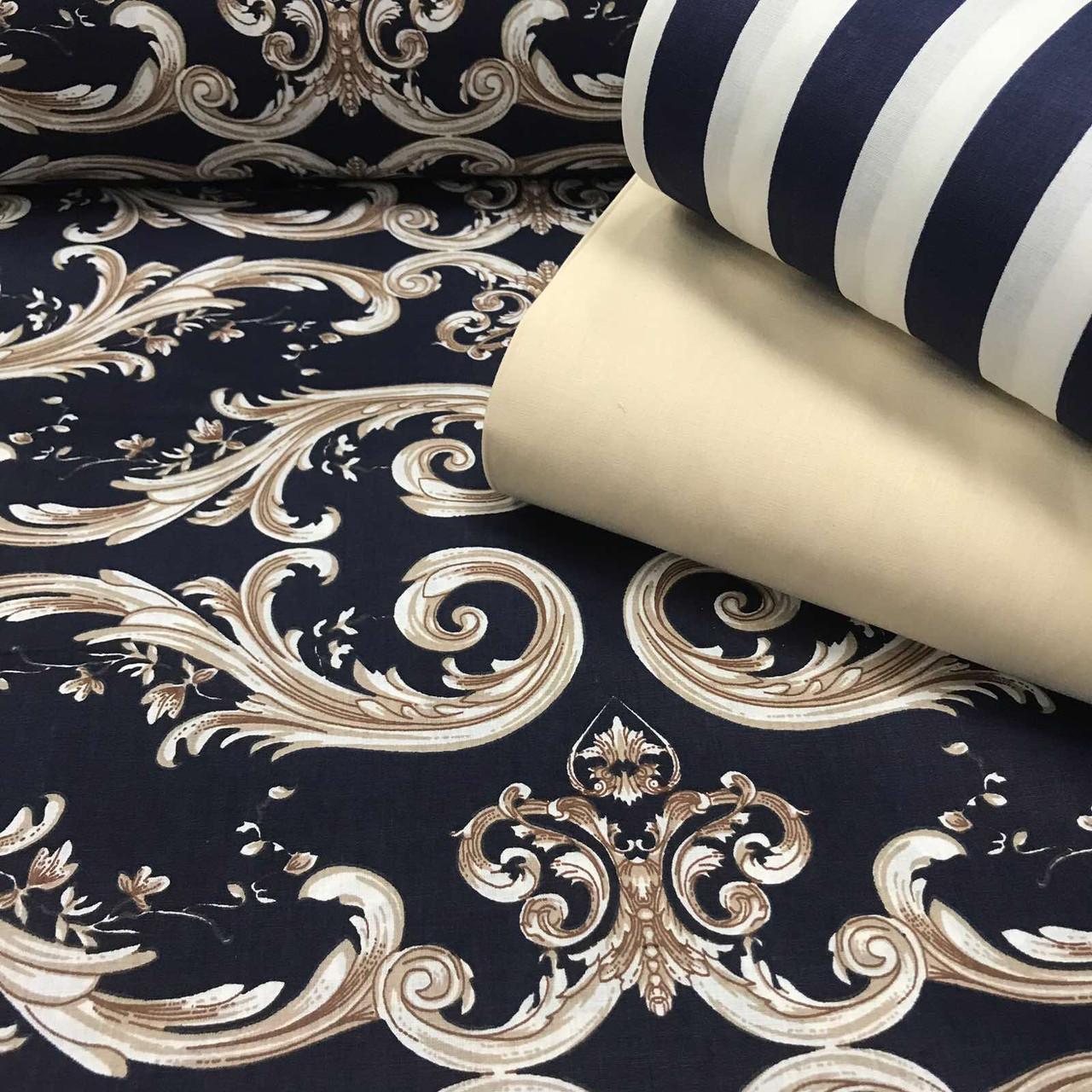 Ткань поплин (ТУРЦИЯ шир. 2,4 м) орнамент бело-бежевый на синем