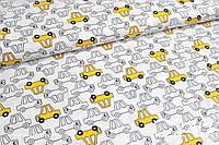 Ткань сатин Машинки желтые