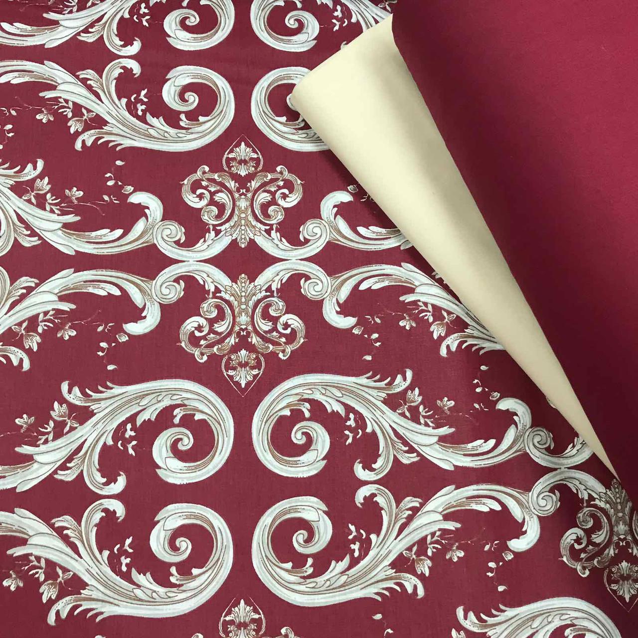 Ткань поплин (ТУРЦИЯ шир. 2,4 м) орнамент бело-бежевый на бордовом